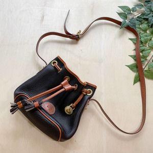 Vintage Dooney & Bourke Black Leather Bucket Bag